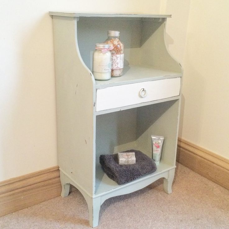 x For Sale x A cute bedside cabinet or may be use in a bathroom/cloakroom.  Painted using a mix of Duck Egg Blue and Old white.  £78.00  On display at Jilly, Tilly & Boo x