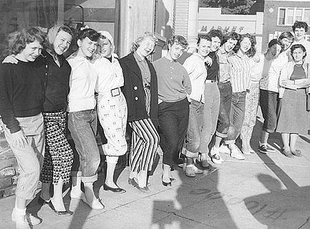 50s teenage fashion casual street style pants jeans skirts found photo print snapshot