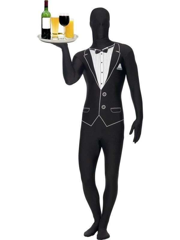ADULT FULL BODY LYCRA TUXEDO SECOND SKIN ZENTAI SUIT FANCY DRESS COSTUME-3 SIZES #Smiffys #CompleteOutfit