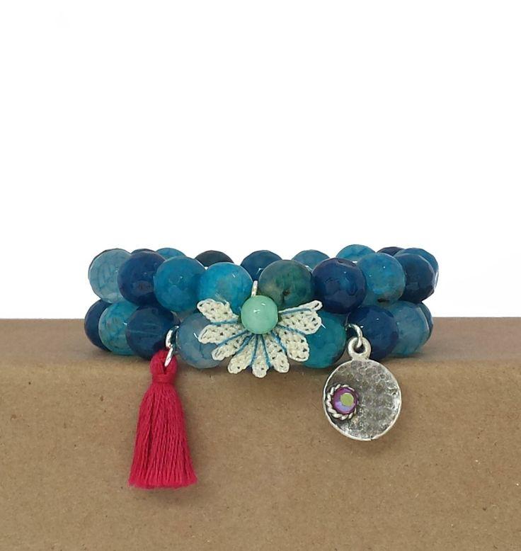 Bracelets for women / blue beaded bracelet /  blue agate beaded bracelet / casual adjustable bracelet / double bracelet / stretch bracelets by BanSisDesignJewelry on Etsy https://www.etsy.com/listing/384792294/bracelets-for-women-blue-beaded-bracelet
