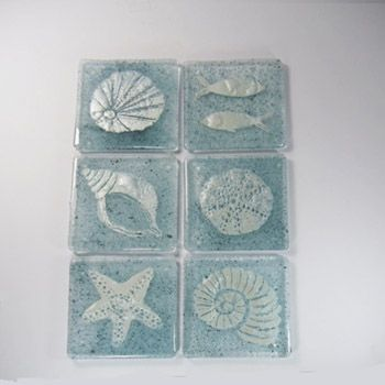 Seaside Coasters - Handpainted by Fran in Dorking - unique to WOW Gallery, South St and at just £11 each for 4 for £39 they are super value... designs vary as Fran gets bored doing them the same every time!