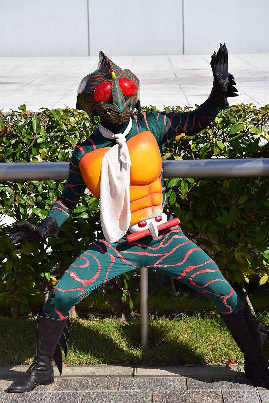 """Kamen rider Amazon from 1974. The original """"Violent Kamen Rider."""" I love this guy's design. Like, Is he a big? A chameleon? A piranha? Some bizarre amalgamation of the three? Whatever it is, it looks cool. AA-MA-ZONNNNN!!!"""