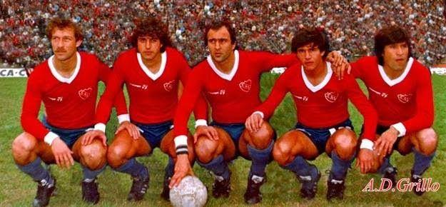 1982 Gabriel Calderon, Ricardo Giusti, Carlos Morete, Jorge Burruchaga, Oscar Ortiz - Independiente de Avellaneda