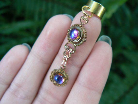 ear cuff Bermuda blue glass cabachon filigree brass cuff in boho gypsy hippie…