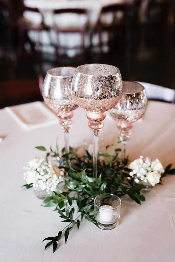 50+ Prettiest Spring Wedding Color I deas---rose gold glitter table ware of glasses, wedding centerpieces with greenery