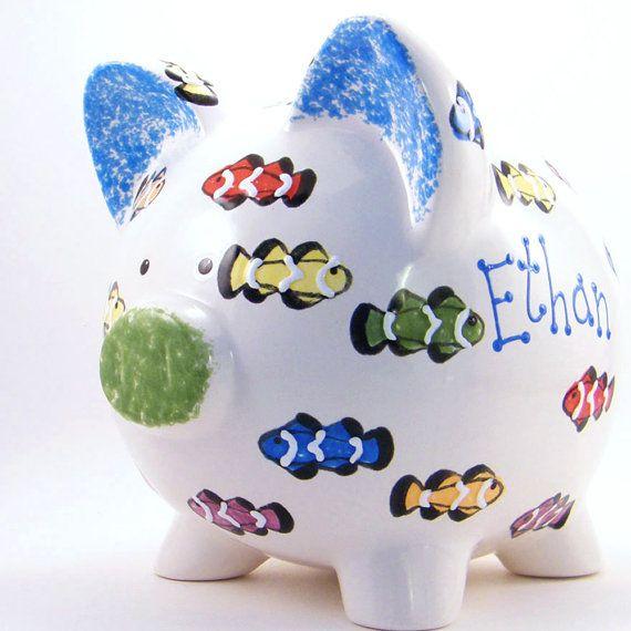 Rainbow #Fish Personalized Ceramic #PiggyBank  by #ThePigPen, $42.50