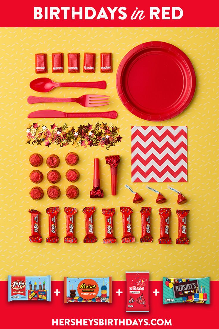 Birthdays In Red — Planning a red birthday party? That's a bold choice, with some bold — and sweet — KISS-ational decorating options. Let's make your child's party the sweetest celebration ever, with HERSHEY'S Birthday candy. Let's Birthday!