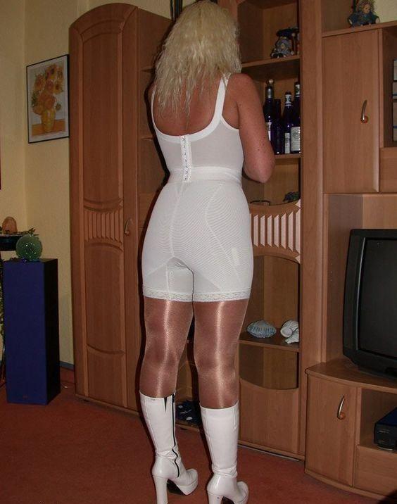 White High Waist Long Leg Panty Girdle White Longline Bra