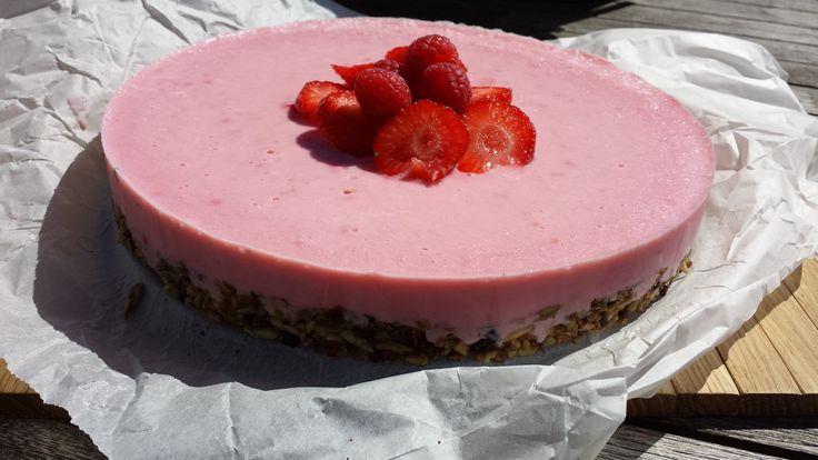 Bevroren aardbeien cheesecake - Roos Puur