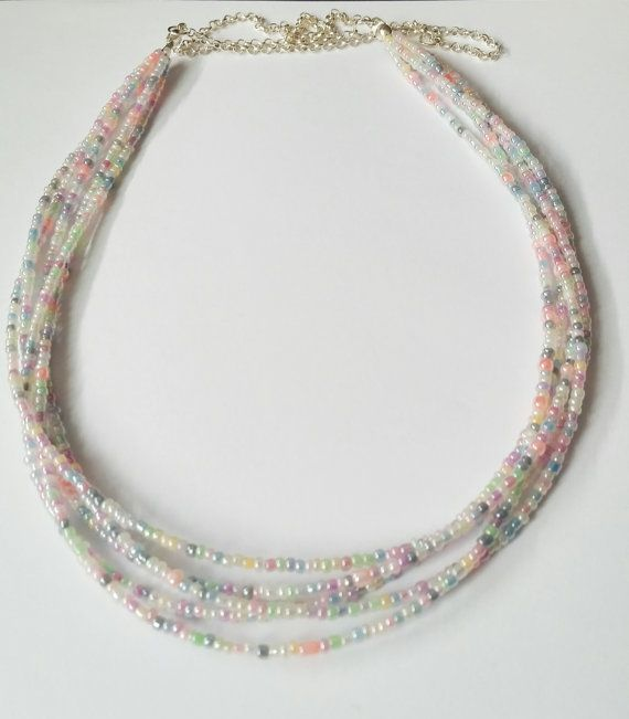 Beaded necklace pastel colors necklace layered by CatiShop on Etsy