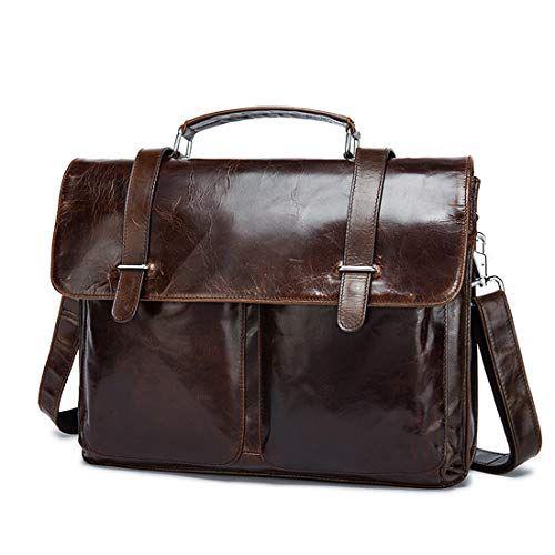 "Color : Black KRPENRIO Mens Leather Business Briefcase Mens Messenger Bag Leisure Tote Handbag for 13/""Laptop"