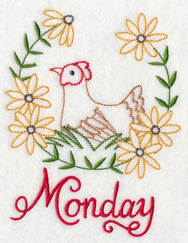 7 Embroidered Kitchen Towels Days Of The Week DOW By Remimartin. Machine  Embroidery DesignsEmbroidery ... Part 66