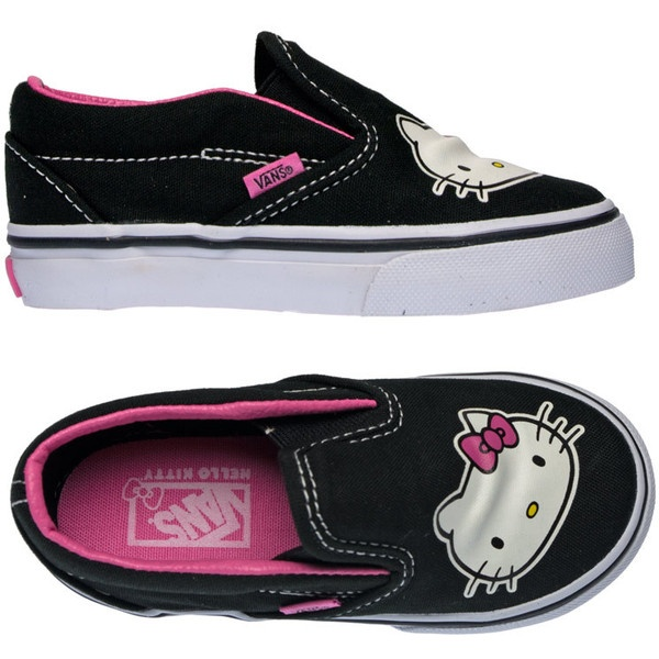 Vans ***Hello Kitty Slip on Toddler uk4 to uk9 at Panache Kids: Fabulous Designer Clothes for Children found on Polyvore