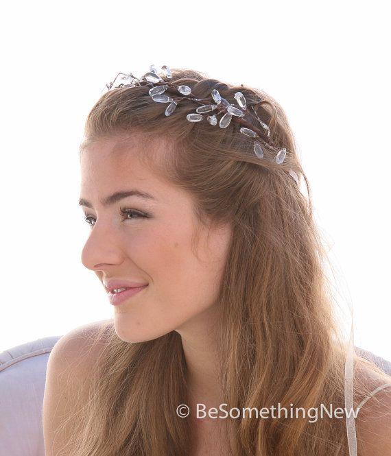 Rustic Crystal and Vine Woodland Wedding Headpiece, Bohemian Wedding Headband Hippie Bridal Hair, Rustic Wedding Hair