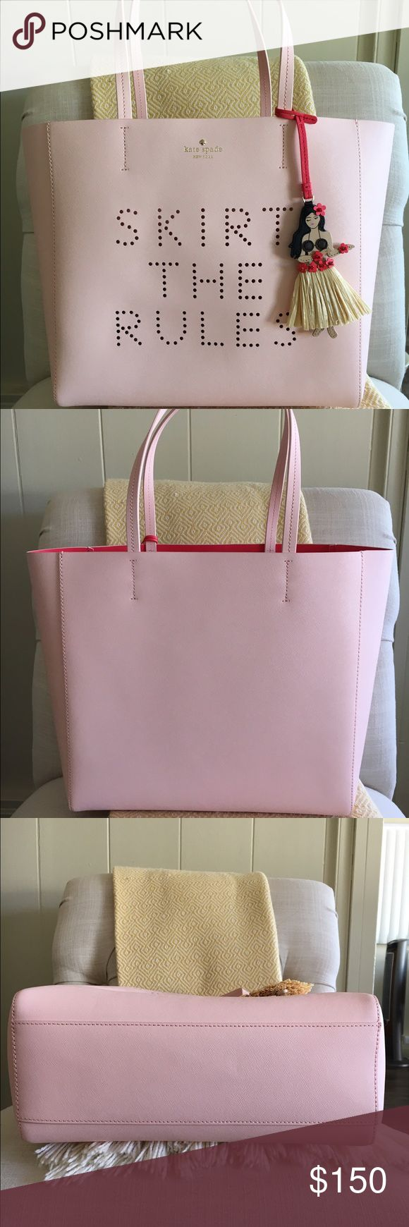 "Kate Spade Skirt the Rules Hallie Tote Kate Spade Skirt The Rules Hallie tote in excellent used condition. A darling hula girl charm adorns a Saffiano leather tote featuring a perforated 'skirt the rules' at the front for a fun, modern update. A bold interior hue completes the chic summer look. Approximate size is 12 ½""W x 12""H x 4""D and 8 ½"" strap drop. No holds or trades please. kate spade Bags"