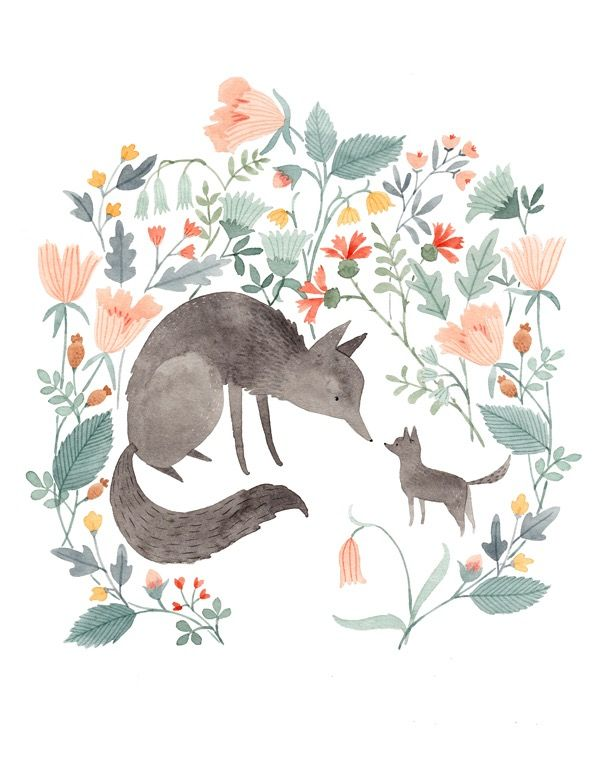 Wolf & Pup | Julianna Swaney, design, drawing, painting, watercolour, simple, character, fox, shape, colour