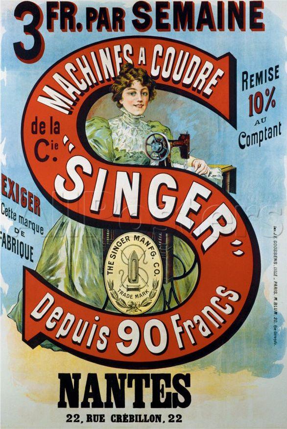 Singer Vintage Sewing Machine Poster advertising #vintage #advertisement #singer #sewing #sewcratic