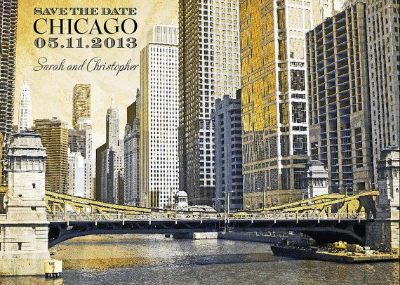 GETTING STARTED  Chicago Save the Date Chicago by CTDESIGNSWED, $45.00 #Chicago #LaSalle #Wacker
