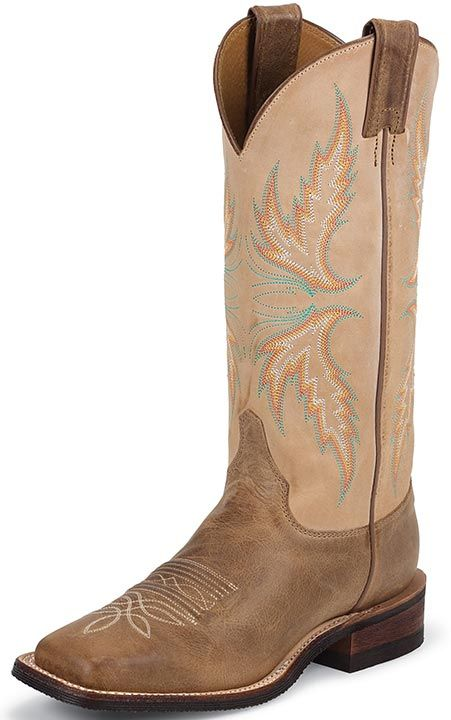 "Justin Bent Rail Women's 13"" Square Toe Cowboy Boots - Arizona Mocha $159.97"