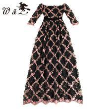 Высокое качество 2017 весна новая взлетно-посадочная полоса dress женская слэш шеи цветочные аппликации vintage mesh вышивка черный длинные dress DS1104(China (Mainland))