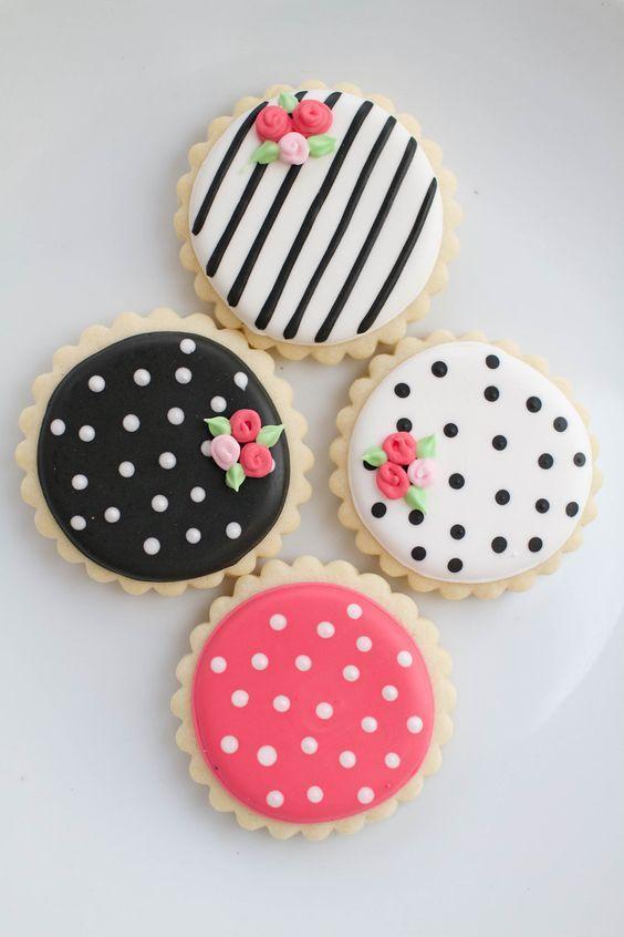 white and black pink wedding cookies / http://www.himisspuff.com/black-and-white-sassy-stripes-wedding-ideas/12/
