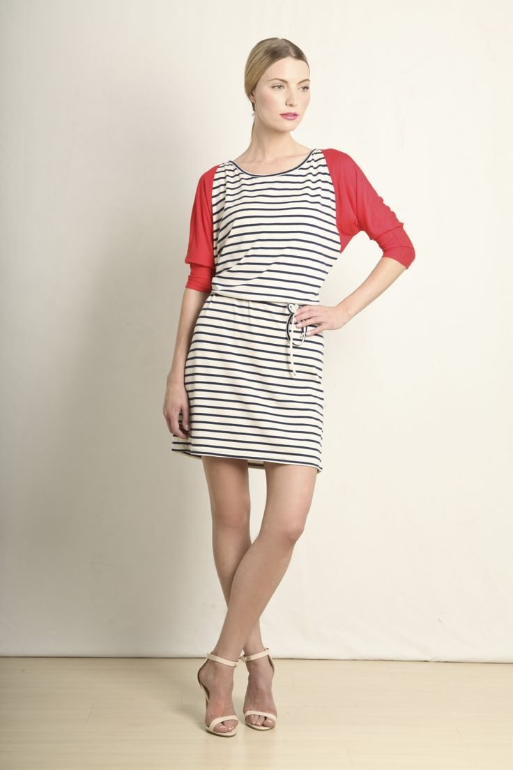 Two-toned tunic dress in coral and navy stripe  GB201-NCS  R420.00  www.georgieb.com