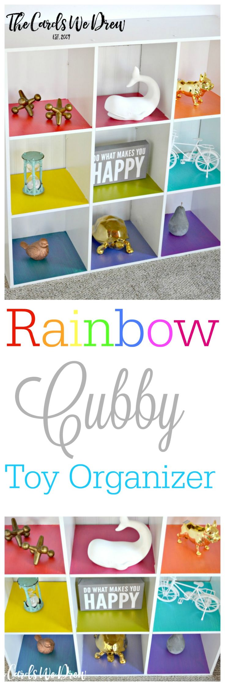 Spruce up the traditional kids toy cubbies with this fun Rainbow Cubby Toy Organizer from The Cards We Drew. #PlaidCreators #sponsored