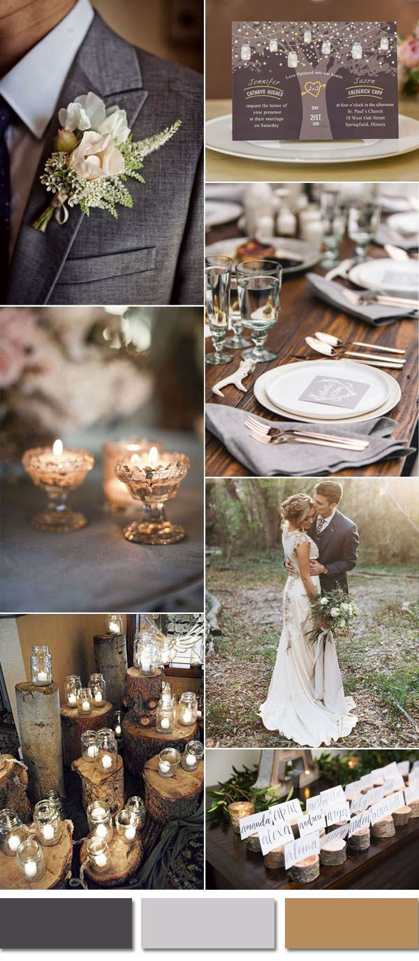 dark gray rustic woodland wedding ideas inspired by rustic tree invitation
