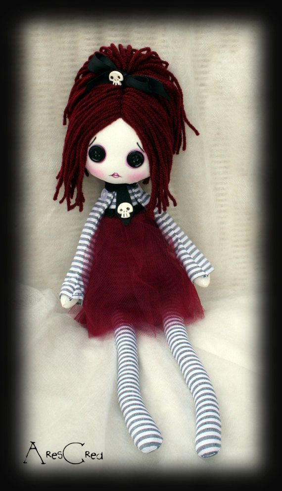 Creepy cute doll Opaline handmade zombie goth cloth by AresCrea