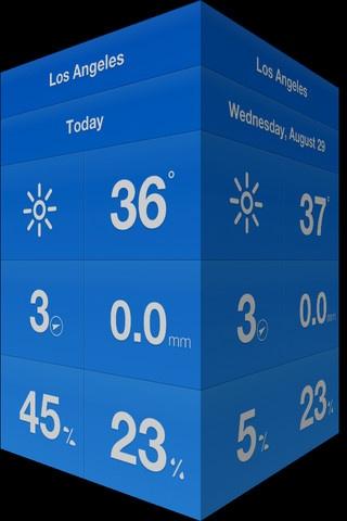 Weathercube.     Een weerapplicatie voor de iPhone die volledig zonder knoppen, maar met gestures werkt.     Geïnspireerd op Clear.