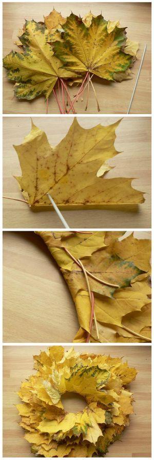 Vyrobte si venček z lísta:) Stačí nazbierať cca 20-30 listov, čím farbnejšie, tým bude výsledok zaujímavejší. A potom už iba ihlicu alebo šidlo a prípadne nožnice.
