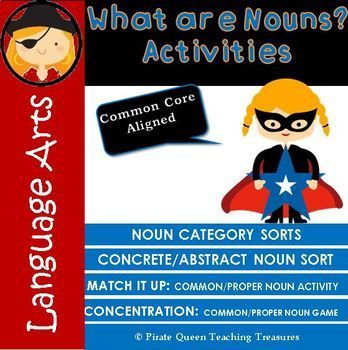 """What Are Nouns? - Activities"" product provides hands-on, engaging practice for noun categories (people, animals, places, things, ideas) as well as concrete and abstract nouns and common and proper nouns. Practice comes in the form of Sorting Activities which can be completed independently or with a partner. In addition there are Matching games for pairs and a Match-It-Up whole class activity."