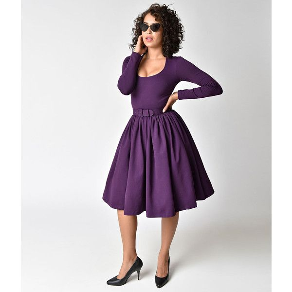 Vixen by Micheline Pitt Vintage Purple Long Sleeve Troublemaker Swing... ($126) ❤ liked on Polyvore featuring dresses, purple, long sleeve dress, vintage white dress, vintage day dress, long sleeve swing dress and trapeze dress