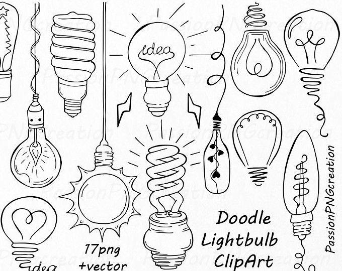 Doodle Glühbirne Clipart, handgezeichnete Glühbirne ClipArt-Grafiken, digitale Clipart, PNG, EPS, AI, Vektor-Dateien, für persönlichen und kommerziellen Gebrauch