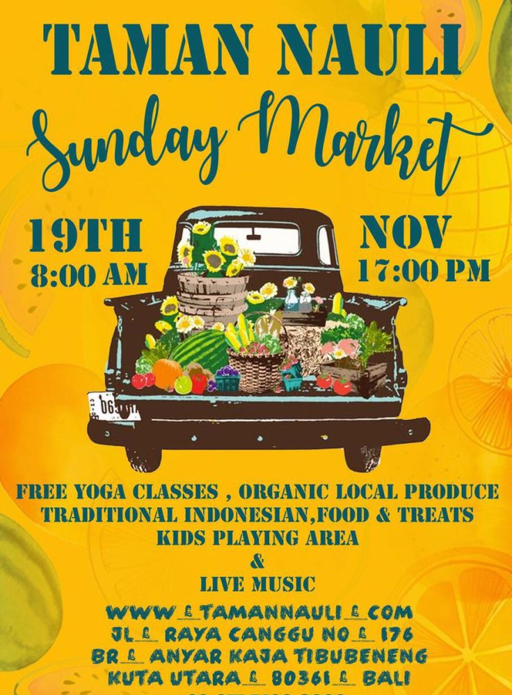 Tajba will enliven the Taman Nauli Sunday Market on Jalan Raya Canggu No 176 Kerobokan Kuta Utara Bali this coming 19th November 2017 from 8am to 5pm.  Free Yoga classes organic local produce traditional Indonesian food & treats kids playing area and live music.  See you there!  Tagged: 19th november 2017 acara bali event events food free yoga classes jalan raya canggu kerobokan kids playing area kuta utara live musi organic local produce sunday market taman nauli traditional treats…