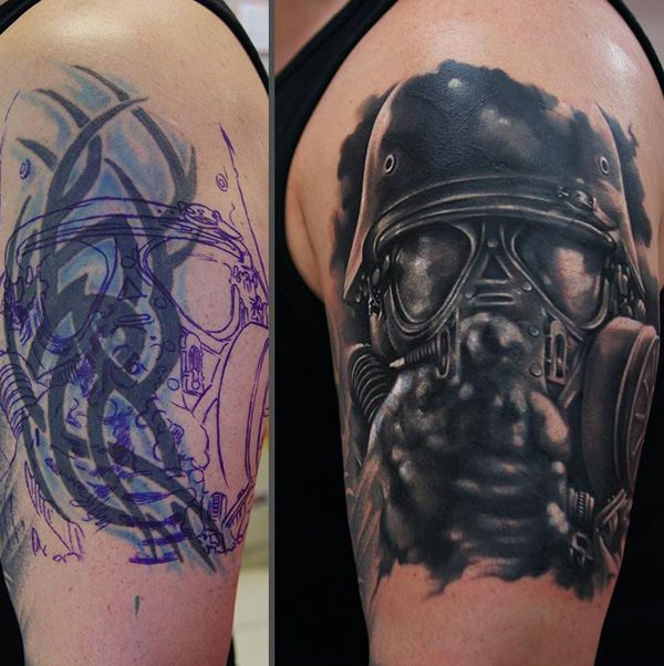 Biochemical soldier cover up tattoo - If it's quite hard to override the colors of your old tattoo, you can have it on your new one. It may not be that much obvious but some of the blue hues of the old tattoos are still seen on the new one. Somehow it easily combines well with the new design.