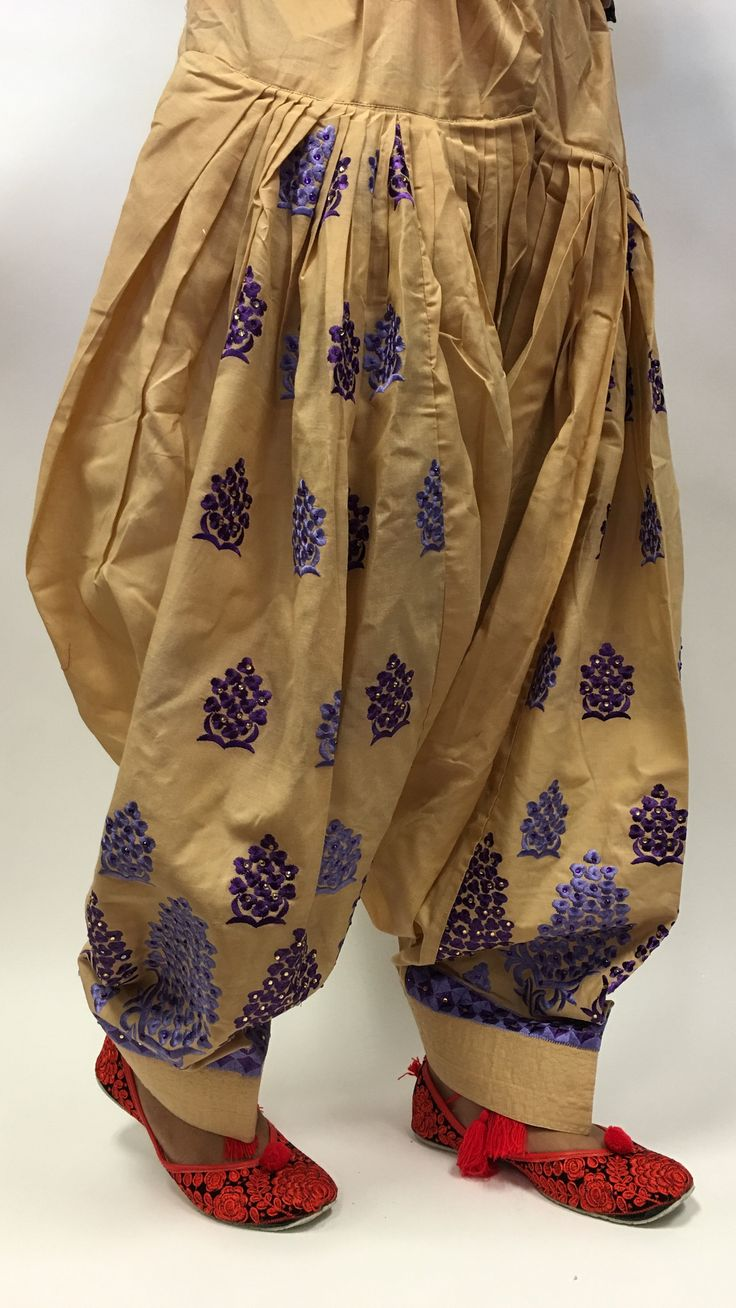Patiala with Blue Embroidery Work - Golden
