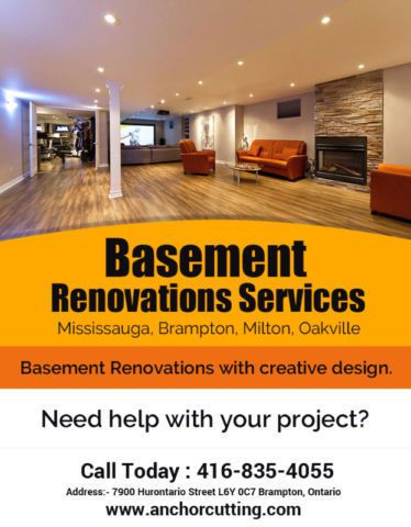 Here we are providing a #services for #renovations of #basements, #roofing & #walls in #Brampton. visit at Anchorcutting.COM !! #BasementRenovationServices #BasementRenovationServicesBrampton Contact us for more information- 416-835-4055 today!