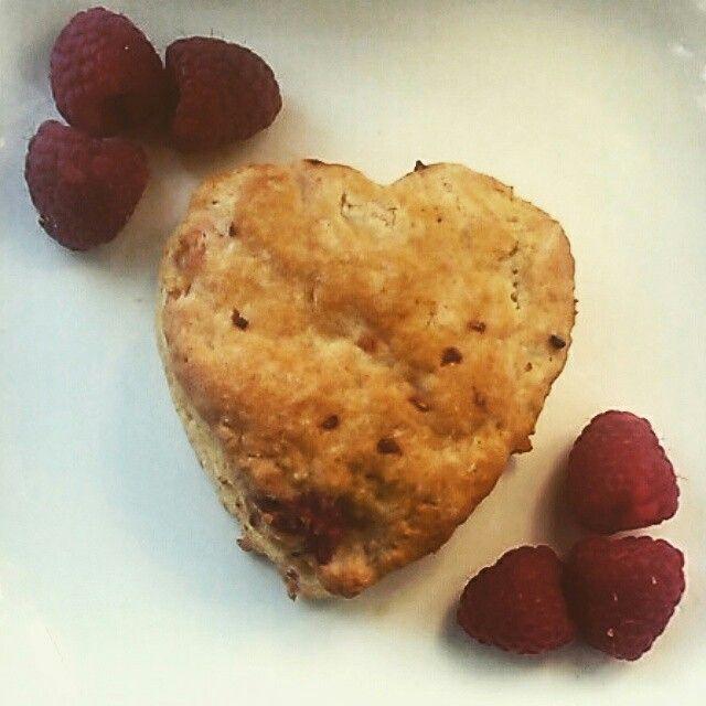 Raspberry Love Heart Scone