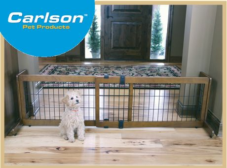 design studio u0026 pressure mount 20u201d tall extra wide pet gate - Carlson Pet Products