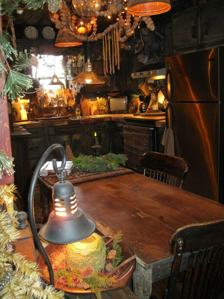 Dark woodwork, orange lights, green plants