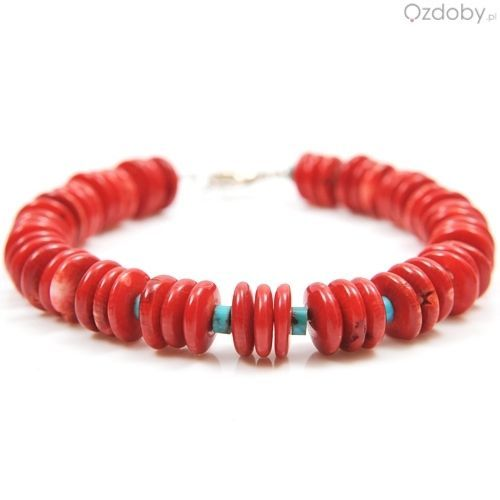 Przepiękna bransoletka wykonana z naturalnego czerwonego korala i zapięciem najwyższej jakości srebra.