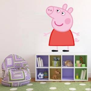 Huge peppa pig decal removable wall sticker home decor art for Pig decorations for home
