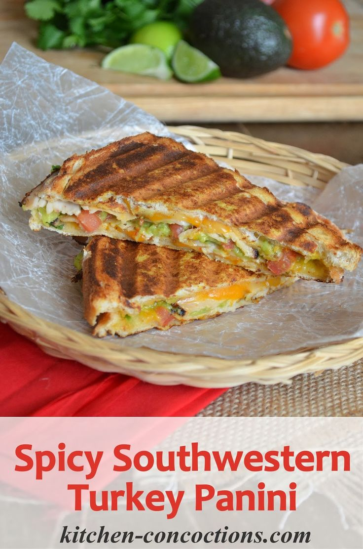 Spicy Southwestern Turkey Panini - guacamole (avocado, cilantro, lime), tomato, spicy mustard,  cheese, turkey slices - ADD tomato slices. PERFECT with grilled dijon mustard on the outside instead of butter. more next time!!