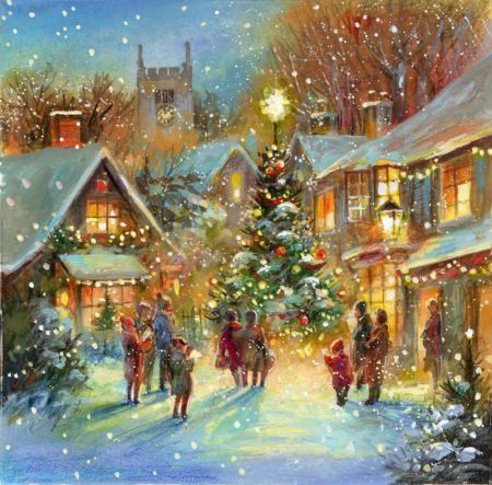 Jim Mitchell - snow village 1.jpg christmas paintings - Pesquisa Google