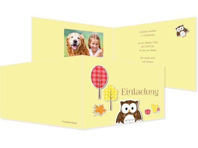 Herbstlaub Einfachkarte 2-seitig 210x100mm gelb, Geburtstag, Einladungskarten, Geburtstagskarten, Kindergeburtstag, Kids, Birthday,  Party, Birthdayparty