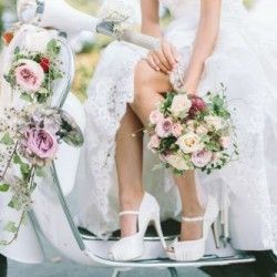 """Vintage bridal bouquet and flowers, nice style with Vespa and High Heels, photo by """"Mathias Taxer"""""""