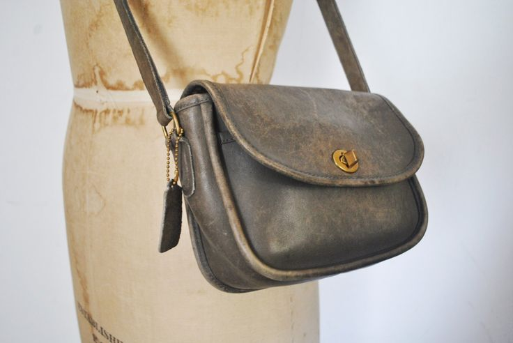 Coach WATSON Bag / gray brown leather / Messenger Satchel purse by badbabyvintage on Etsy