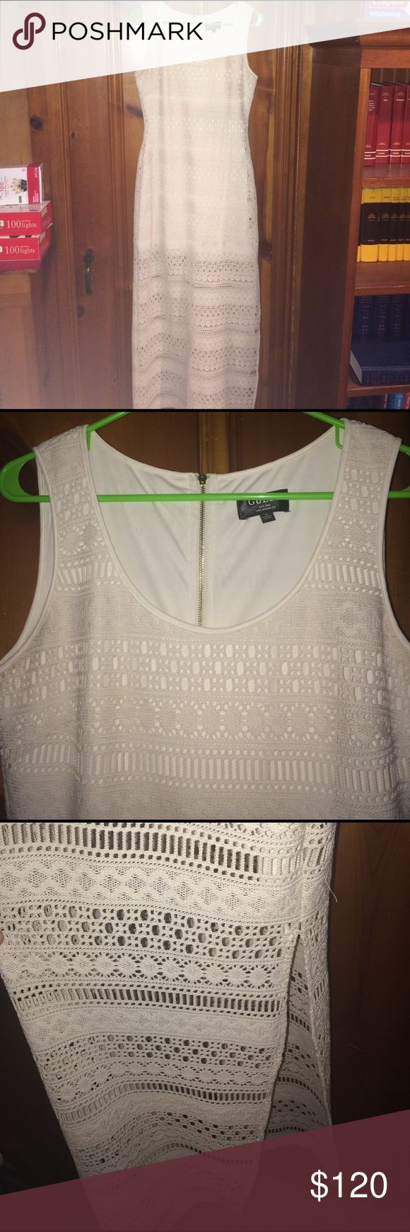 Guess lace maxi dress Made in Los Angles, guess cream colored laced maxi dress. Used but great condition Guess Dresses Maxi