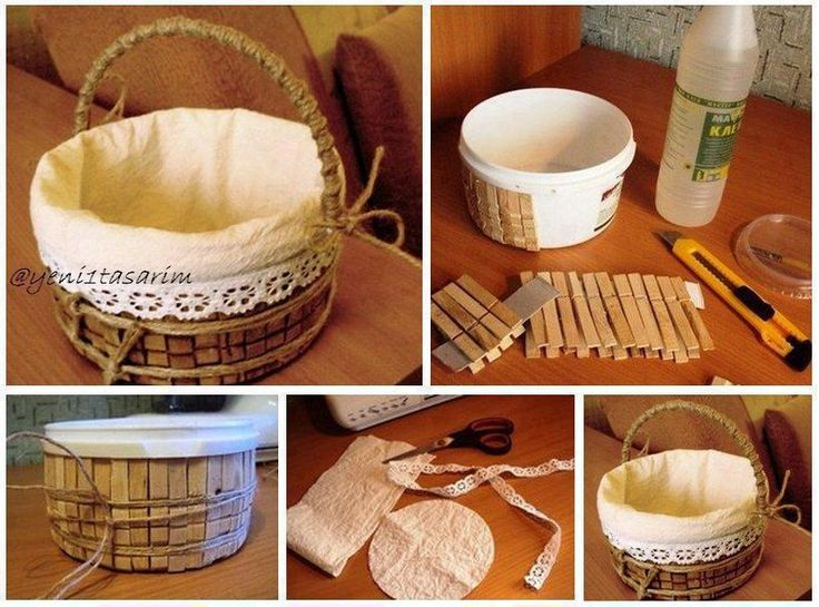 a plastic container, wooden cloth pins, some cloth and lace...... there you go for a lovely basket!